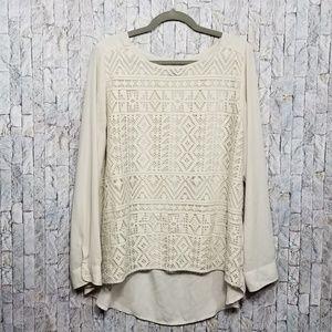 Banana Republic lace front chiffon blouse size L